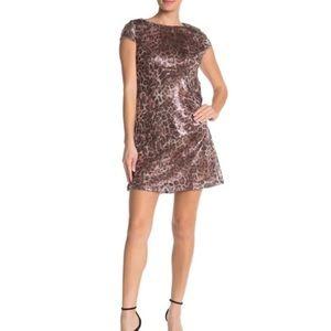 Marina Animal Leopard Print Sequin Shirt Dress NWT
